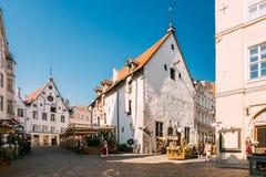 Tallinn, Estonia La donna si è vestita in vestito piega tradizionale dal costume fotografie stock libere da diritti