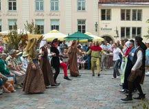 TALLINN, ESTONIA - 8 LUGLIO: Celebrazione dei giorni i medio evo Fotografia Stock