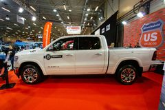 TALLINN, Estonia - MARCH 01-03, 2019: white Dodge RAM 1500 LONGHORN CREW CAB at an exhibition Tallinn Boat Show «Meremess» in. Estonian Fairs Center royalty free stock photo