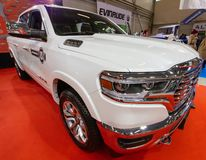 TALLINN, Estonia - MARCH 01-03, 2019: white Dodge RAM 1500 LONGHORN CREW CAB at an exhibition Tallinn Boat Show «Meremess» in. Estonian Fairs Center stock images