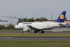 Tallinn, Estonia - MAY 20, 2018 Lufthansa Airbus A319-100 in Tal Royalty Free Stock Images