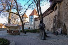 Tallinn, Estonia 02 may 2017. A metal statue of a faceless monk in the old town royalty free stock images