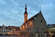 Old town hall and town hall square in Tallinn in the morning Stock Images