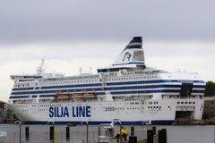 Tallinn, Estonia, May 24, 2017: ship in the port of the city royalty free stock photos