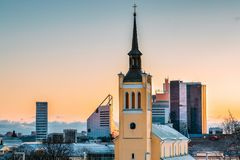 Tallinn, Estonia. Evening View Cityscape Of Church Of St. John Jaani Kirik Is Large Lutheran Parish Church In Tallinn. Tallinn, Estonia. Morning View Cityscape stock image