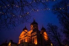 Tallinn, Estonia. Night landscape with lighting. View Of Alexander Nevsky Cathedral. Famous Orthodox Cathedral Is Tallinn`s. Largest And Grandest Orthodox royalty free stock images