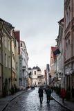 Narrow street in Tallinn old town. TALLINN, ESTONIA - NOVEMBER 25, 2017: Narrow street in Tallinn's old town in a cold Autumn morning, Estonia Stock Photos