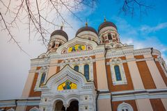 Tallinn, Estonia Opinión Alexander Nevsky Cathedral La catedral ortodoxa famosa es la cúpula ortodoxa más grande y más magnífica  fotografía de archivo libre de regalías
