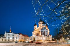 Tallinn, Estonia Opinión de la tarde Alexander Nevsky Cathedral Catedral ortodoxa famosa Señal popular y Imagen de archivo