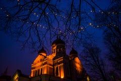 Tallinn, Estonia Paesaggio di notte con illuminazione Punto di vista di Alexander Nevsky Cathedral La cattedrale ortodossa famosa immagini stock