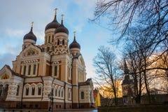 Tallinn, Estonia Punto di vista di Alexander Nevsky Cathedral La cattedrale ortodossa famosa è la più grande e più grande cupola  fotografie stock libere da diritti