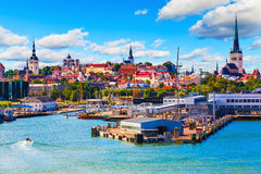 Tallinn, Estonia. Scenic summer view of the Old Town and sea port harbor in Tallinn, Estonia Royalty Free Stock Photography
