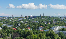 TALLINN, ESTONIA 21 07 2017 Scenicznych lat panoram miasto T Zdjęcia Stock