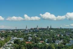 TALLINN, ESTONIA 21 07 2017 Scenicznych lat panoram miasto T Fotografia Stock