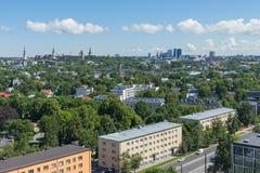 TALLINN, ESTONIA 21 07 2017 Scenicznych lat panoram miasto T Zdjęcie Stock