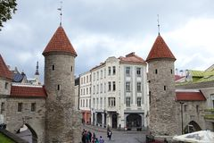TALLINN, ESTONIA- SEPTEMBER 9,2015: tourists on the entrance from the Viru Gate of the Old city Stock Image