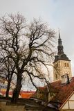 TALLINN, ESTONIA: St Nicholas «kościół, Niguliste kościół, Niguliste kirik Dzisiaj mieści gałąź muzeum sztuki Estonia ja obrazy stock