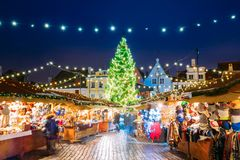 Tallinn, Estonia. Traditional Christmas Market On Town Hall Square. Raekoja Plats. Christmas Tree And Trading Houses. Happy New Year Holiday stock image