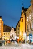 Tallinn, Estonia. Vanaturu Street In Historical Centre Of Old To Stock Photo