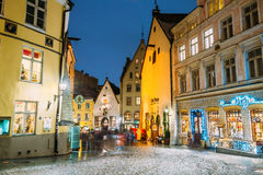 Tallinn, Estonia. Vanaturu Street In Historical Centre Of Old Town Royalty Free Stock Images