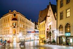 Tallinn, Estonia. Vanaturu Street In Historical Centre Of Old Town Stock Photography