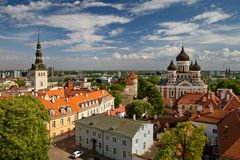 TALLINN, ESTONIA - View from the Bell tower of Dome Church / St. Mary`s Cathedral, Toompea hill at The Old Town and Russian Orthod. TALLINN, ESTONIA, View from royalty free stock photos