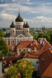 TALLINN, ESTONIA - View from the Bell tower of Dome Church / St. Mary`s Cathedral, Toompea hill at The Old Town and Russian Orthod royalty free stock photography