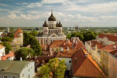 TALLINN, ESTONIA - View from the Bell tower of Dome Church / St. Mary`s Cathedral, Toompea hill at The Old Town and Russian Orthod stock images