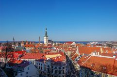 Tallinn, Estonia. View of the Old town and tiled roofs stock photos