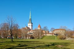 Tallinn, Estonia. View of the Old town, Cathedral and tiled roofs stock photography