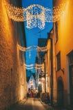 Tallinn, Estonia. View Of Raekoja Street In Christmas New Year Xmas Festive Illumination Lights And Decorations.  stock photo