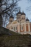 Tallinn, Estonie Vue d'Alexander Nevsky Cathedral La cathédrale orthodoxe célèbre est la plus grande et la plus grande coupole or photo stock