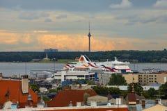 Tallinn harbour. View of Tallinn harbour near old town, Estonia Royalty Free Stock Photo