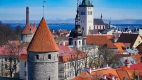 Tallinn horisont, Estland Flyg- sikt av Tallinn Tallinn gammal stad, Estland Royaltyfri Foto