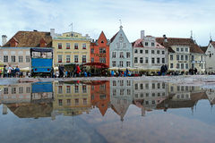 Tallinn. Houses on the Town Hall Square after rain Stock Image