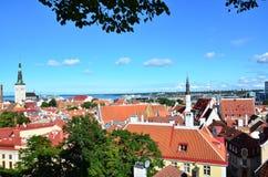 Tallinn kapita? Estonia od ptaka oka widoku zdjęcia stock