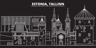 Tallinn konturhorisont Estland - Tallinn vektorstad, estonian linjär arkitektur, byggnader Tallinn lopp Arkivbild