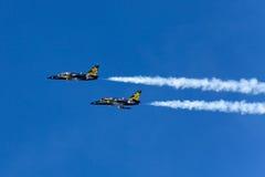 Tallinn - MAY 13: The aerobatic group Russ under MINE HARBOR in. Tallinn. 2012 in Tallinn, Estonia Stock Photography