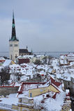 Tallinn medieval old town under snow, Estonia Stock Photos