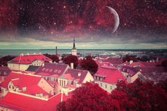 Tallinn mystical night. Elements of this image furnished by NASA stock photography