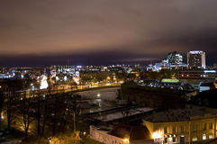 Tallinn at night. View of the modern side of Tallinn (the capital of Estonia) late in the evening in winter Stock Photos
