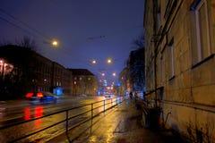 Tallinn, night cityscape. Endla street,perspective view to traffic lights, night Tallinn, Estonia Royalty Free Stock Photography