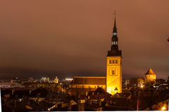 Tallinn night old town view Royalty Free Stock Photos