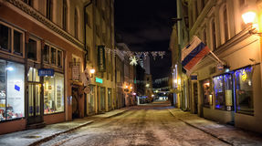 Tallinn at night in winter Royalty Free Stock Photography