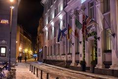 Tallinn at night in winter Stock Photos