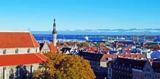 Tallinn old city and harbor panorama Stock Photography
