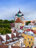 Tallinn. Old city. Red roofs of houses and Alexander Nevsky Cathedral Stock Image