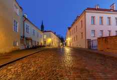 Tallinn. Old medieval street at dawn. Royalty Free Stock Photo
