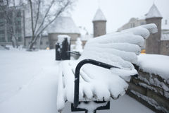 Tallinn, old town covered by snow. Estonia, Tallinn, park in old town, bench covered by snow royalty free stock images