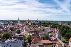 Tallinn Old Town seen from air. The Old Town of Tallinn, Estonia, seen from the air on a summer day Royalty Free Stock Photos
